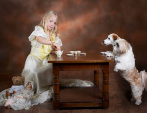 little girl and pups