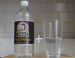 a bottle of vinegar and a clear glass of water